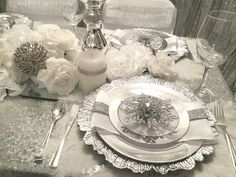 """""""Memorable events fit for royalty"""" Silver Christmas Decorations, Christmas Tablescapes, Christmas Themes, Wedding Decorations, Table Decorations, Holiday Decor, Place Settings, Table Settings, White Christmas"""