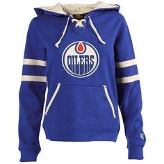 Women s Edmonton Oilers Old Time Hockey Royal Blue Grant Lace-Up Slim Fit  Hoodie Hockey 55438d700