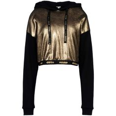 Dimensione Danza Sweatshirt ($122) ❤ liked on Polyvore featuring tops, hoodies, sweatshirts, gold, gold top, long sleeve tops, patterned sweatshirt, patterned tops and lace-up tops