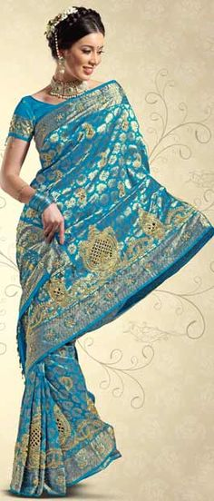 Sky Blue Pure Brocade Silk Saree with Blouse Itemcode: SKL1227 Price: US$ 631.70 Click @ http://www.utsavfashion.com/store/sarees-large.aspx?icode=skl1227