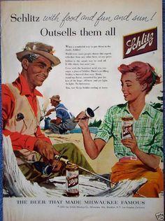 Schlitz Beer Fishing Camp Fire Food Fun Sun All (1956)