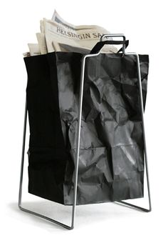Helsinki paper bag holder in silver. Design by Helena Mattila. Made in Finland.