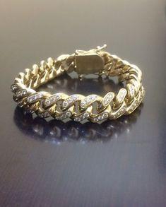 14K Yellow Gold Cuban Link Diamond Bracelet by DeKaraDesigns #hiphopbraceletdiamond #men'sjewelry