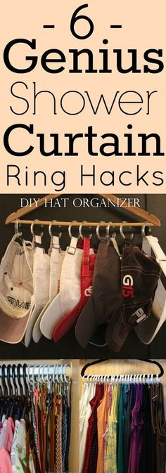 6 Genius Shower Curtain Ring Hacks- These hacks have created so much space in my closet! You have to try these tips!
