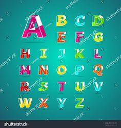 Isometric alphabet font.Capital letter A, B, C, D, E, F, G, H, I, J, K, L, M, N, O, P, Q, R, S, T, U, V, W, X, Y, Z. Vector illustration.
