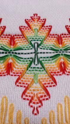 Huck Weaving or Swedish Embroidery by wteresa Embroidery Patterns Free, Hand Embroidery Designs, Cross Stitch Embroidery, Bead Loom Patterns, Cross Stitch Patterns, Cross Stitches, Free Swedish Weaving Patterns, Broderie Bargello, Swedish Embroidery