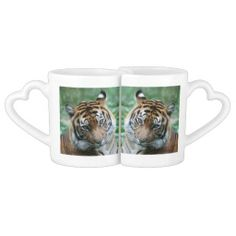 #Tiger Combination 002 #Lovers' mug set #JAMFotoWorms #Zazzle.com - Look at both sides - one side looking towards each other - other side looking the other way... ;-)
