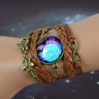 Wish   sky Blue Mysterious Planet & universe picture glass cabochon charm,bronze color infinity butterfly charm,brown leather bracelet