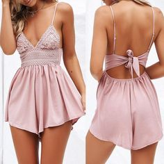V Neck Women Summer Bowknot Jumpsuit Backless Mini Beach Jumpsuit Party Lace Elastic Tight Sexy Rompers Shorts Jumpsuit Vestidos Rompers Women, Jumpsuits For Women, Beach Jumpsuits, Backless Mini Dress, Clothes 2019, Plus Size Jumpsuit, Boho Fashion, Sexy Women, Spaghetti Straps