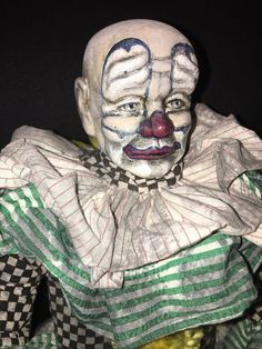 """CrEePy CLOWN """"PATCHES"""" ScArY OOAK Assemblage Art PORCELAIN DOLL Zombie HALLOWEEN   eBay"""