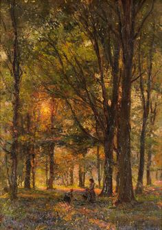 "poboh: "" Woodland scene with figures picking bluebells in a sunlit glade, Herbert Royle. English Bluebells, Irish Painters, Hudson River School, Paintings I Love, Oil Paintings, Deep Forest, Closer To Nature, Urban Life, Art Studies"