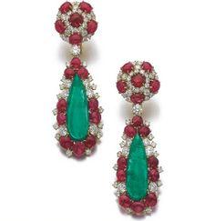 Pair of emerald, ruby and diamond pendent ear clips, Bulgari