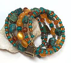 Tribal bohemian bracelet - Turquoise Wrap Bracelet - Boho Wrap Bracelet- Gypsy Wrap - Boho Beaded Bracelet - Memory Wire Bracelet