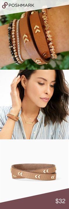 "Stella & Dot Leather Wrap Bracelet Genuine leather wrap bracelet with shiny gold chevron details and snap closure.  Shiny Gold Finish  16"" Length  Adjusts to fit SM-LG  Snap Closure Stella & Dot Jewelry Bracelets"