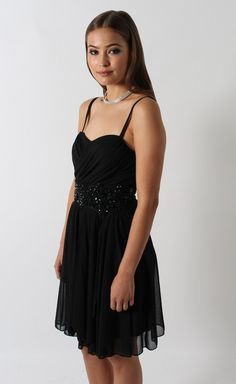 Mesh Pleated Jewel Dress Black