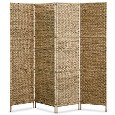 vidaXL Room Divider Water Hyacinth Home Office Screens Partition for sale online Folding Screen Room Divider, 4 Panel Room Divider, Diy Room Divider, Office Screens, Door Dividers, Seaside Home Decor, Dressing Area, Water Hyacinth, Rustic Charm