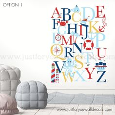 Ocean Bedroom Kids, Alphabet Wall Decals, Life Preserver, Colour List, All Wall, Wall Spaces, Murals, Color Change, Nautical