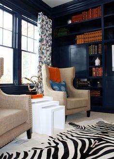 loving the color combo + zebra rug--image via Belle Maison 23 #zincdoor #navy #library #zebra