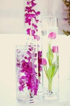 Dendrobiums and tulips in glass