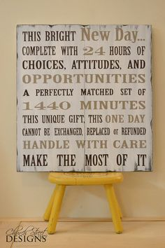 Hand Painted Wooden Sign - This Bright New Day Quote - Church Street Designs