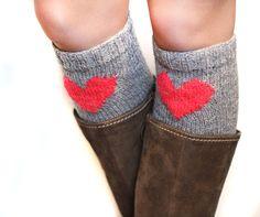 Boot cuffs with heart. Dark grey wool Valentine leg by Woolsome, $21.00