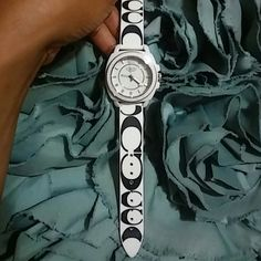 Coach White (Authentic) coach boyfriend watch with black  coach logo. The band is the jelly band great condition.. Make me an offer I cant refuse Coach Accessories Watches