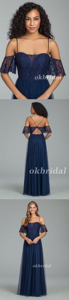 Spaghetti Straps Bridesmaid Dress, Tulle Bridesmaid Dress, Lace Bridesmaid Dress, LB0892 #okbridal #Bridesmaids