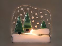 Christmas Decoration Stained Glass Candle Holder Snow