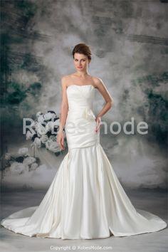 Robe de mariée sirène en satin avec nœud papillon dos zippé 2014