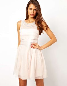Lipsy Prom Dress with Layered Bodice and Jewel Necklace