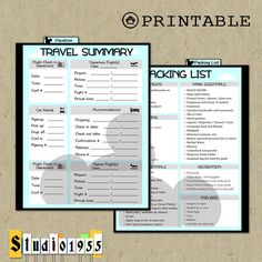 Printable Disney vacation dashboard & packing checklist; Insert; Divider; Erin Condren planner; ECLP by Studio1955 on Etsy https://www.etsy.com/listing/258584070/printable-disney-vacation-dashboard