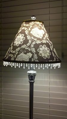 lamp shade recovered with daisy cottage