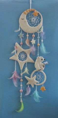 You can DIY this with salt dough and change up color or design to look more earthy. Clay Crafts, Diy And Crafts, Crafts For Kids, Arts And Crafts, Los Dreamcatchers, Moon Dreamcatcher, Deco Pastel, Craft Projects, Projects To Try