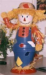 Clay Pot Autumn Decorations — another variation of the clay pot scarecrow. From All Free Crafts, uses patio paints for the scarecrow's face and clothing. Thanksgiving Crafts, Fall Crafts, Halloween Crafts, Holiday Crafts, Crafts For Kids, Diy Crafts, Halloween Makeup, Flower Pot Art, Clay Flower Pots