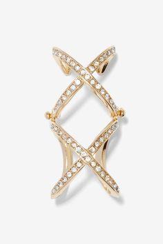 Double Crosser Rhinestone Ring