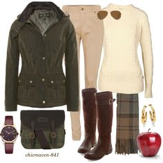 Barbour - Apple Picking by chicmaven-841 on Polyvore featuring Barbour, Michael Kors and Ray-Ban
