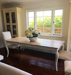 French Provincial Farmhouse Table handcrafted to French countryside perfection and brought to life using 100+ year old reclaimed barn wood to recreate the look of an antique table that has been passed down for many generations.