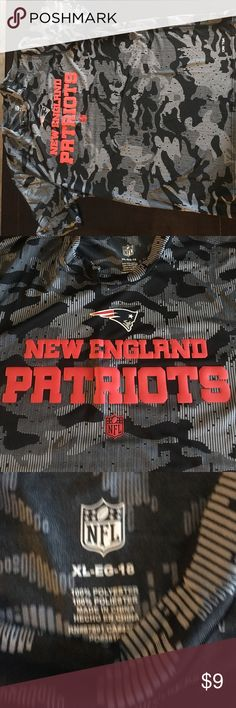 NFL Patriots Dri-fit shirt - black camo NFL Patriots Dri-fit shirt - size Youth XL. Cool black and gray camo pattern and never worn. Great for hot days and playing sports. Material Keeps you cool while you sweat NFL Shirts & Tops Tees - Short Sleeve
