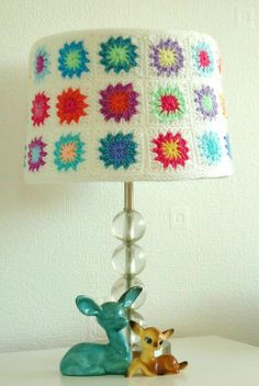 Granny square lamp shade.