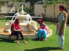 Mrs. Angelique Singh and her daughters, enjoying Holi