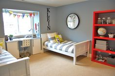 shared bedroom.  I like the alternative curtain idea - dresses up the window