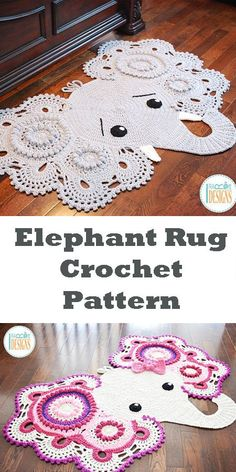 CROCHET PATTERN Josefina and Jeffery Elephant Rug Nursery Mat Carpet PDF Crochet Pattern with Instant Download #affiliate #crochet #ad