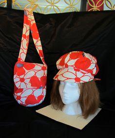 Vintage Sun Hat & Purse Set 1960s Beach Sun Hat with Matching Shoulder Bag-Boho Flower Power