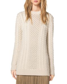 Michael Kors Mixed-Knit Wool Sweater, White