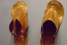 Gold sandals Dynasty 18 reign of Thutmose III 1479-1425 BCE from the tomb of the three minor wives in the Wady Gabbanat el-Qurud Thebes