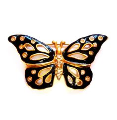 Rhinestone Butterfly Brooch, Signed Swarovski Pin