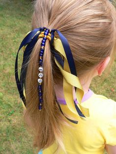 Personalized Ponytail Holder Ribbon Hair Tie Bow by stargazinglily, $6.50