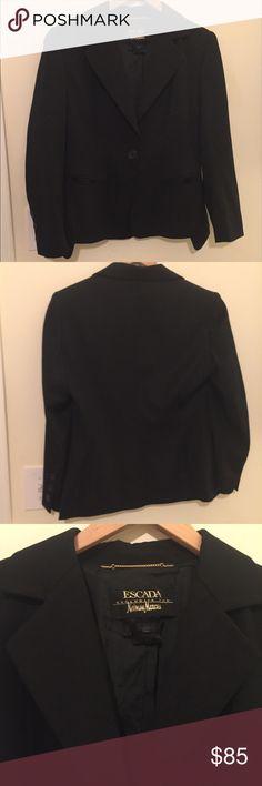 Escada Black Single Button Blazer Escada for Neiman Marcus black blazer featuring single front button, size 38 converts to a Medium/8. Great hip detail in the cut of the blazer as shown in pictures. Escada Jackets & Coats Blazers