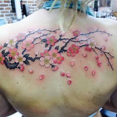 Blossom tattoo by Chris Garver Key Tattoos, Dream Tattoos, Back Tattoos, Girl Tattoos, Gypsy Tattoos, Arabic Tattoos, Tatoos, Bodysuit Tattoos, Chris Garver Tattoo