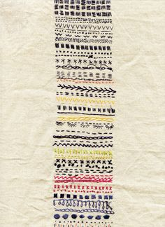 this gives me the idea to embroider a geologic column. Basic Embroidery Stitches, Embroidery Sampler, Hand Embroidery Designs, Diy Embroidery, Cross Stitch Embroidery, Embroidery Patterns, Print Patterns, Textiles Techniques, Hand Stitching